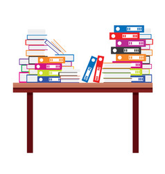 pile of books and document file folders on a vector image