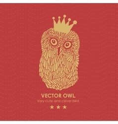 Print with cute and clever owl in crown vector image vector image