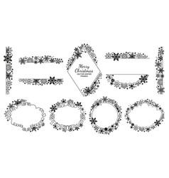 Snowflake frame set black-white xmas collection vector