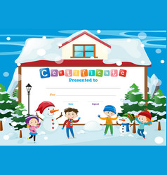 certificate template with kids and snowman vector image vector image