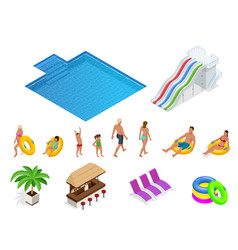 isometric set icons of summer water park holiday vector image
