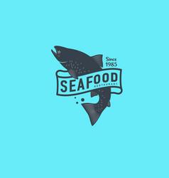 logo seafood salmon seafood restaurant identity vector image