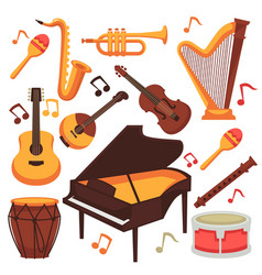 musical instruments and music notes vector image vector image