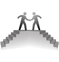 people climb stairs to meeting platform handshake vector image