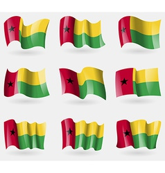 Set of GuineaBissau flags in the air vector image vector image