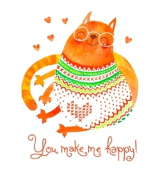 Watercolor hand drawn card with a cute cat vector image