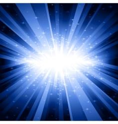 blue light burst with stars vector image
