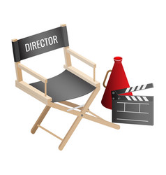 director empty chair cinema clapper and vector image vector image