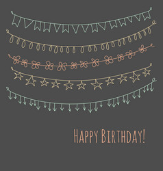 happy birthday greeting card with garlands vector image