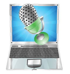 microphone flying out of laptop screen concept vector image vector image