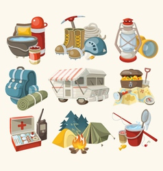 Set of items and devices for hiking vector image vector image