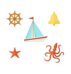 ship steering wheel bell starfish octopus vector image vector image