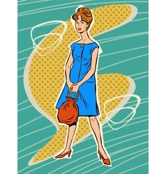 Beautiful woman in retro dress vector image vector image
