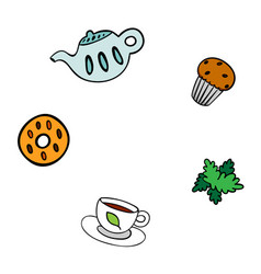 cartoon template for menu teapot cookie cup vector image