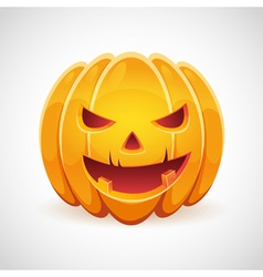 Halloween pumpkin with evil grin smile card vector image