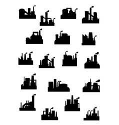 Industrial factories and refineries icon set vector image vector image