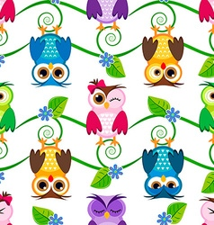 Little owls pattern vector image