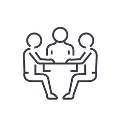 team strategydiscussion line icon sign vector image vector image