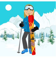 young active woman skiing in mountains vector image vector image