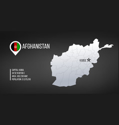 afghanistan detailed map with regions and kabul vector image