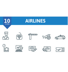 Airlines icon set collection contain takeoff vector
