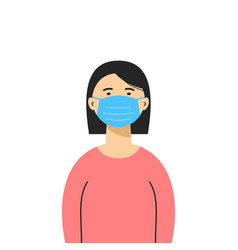 an asian woman wearing a medical mask isolated vector image