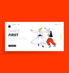 arabic dance landing page template whirling vector image