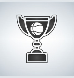 basketball trophy cup award icon in flat vector image