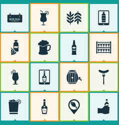 Beverages icons set with stand with glasses vector