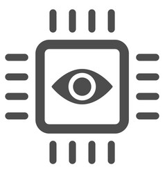 Bionic vision chip flat icon vector