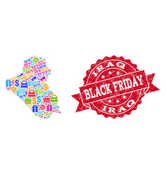 black friday composition of mosaic map of iraq and vector image