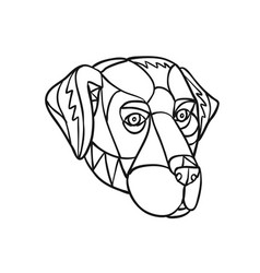 Black labrador dog head mosaic black and white vector