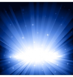 blue light burst with stars vector image vector image