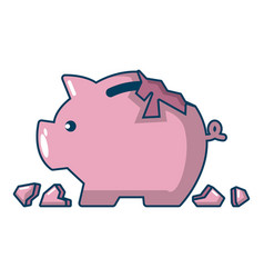Broken piggy bank icon cartoon style vector