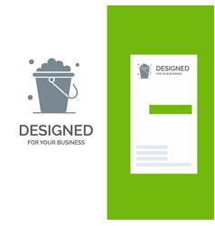 Bucket cleaning floor home grey logo design and vector