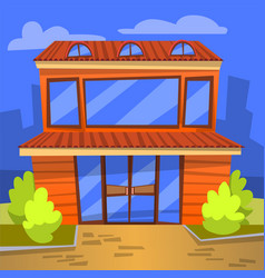 cafe exterior building with windows cityscape vector image