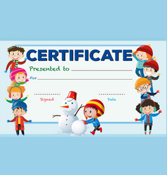 Certificate template with kids in winter vector