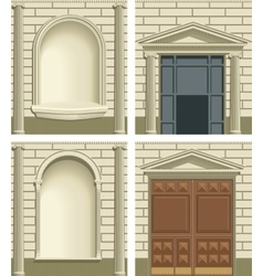 Classic exterior facade elements vector