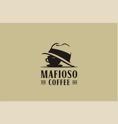 coffee cup mafia mafioso hat crime logo vector image