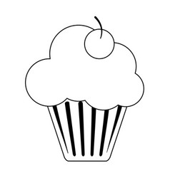 Cupcake with cherry black and white vector