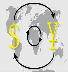 Currency exchange japanese yen dollar on world map vector