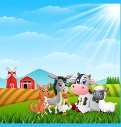 Cute animals farm in the hills vector