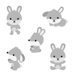 Cute cartoon rabbits in flat style vector