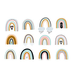 cute rainbow set background with hearts vector image