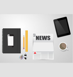 desktop time to read the news coffee electronics vector image