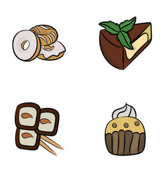Desserts icons pack vector