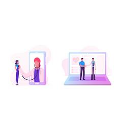 Distant online medicine consultation smart vector