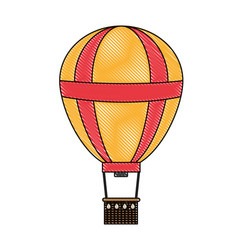 Doodle funny air balloon cute entertainment vector