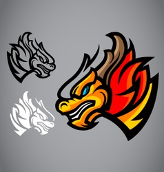 Dragon gold head emblem logo vector