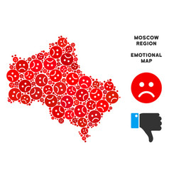 Emotional moscow oblast map mosaic of sad vector